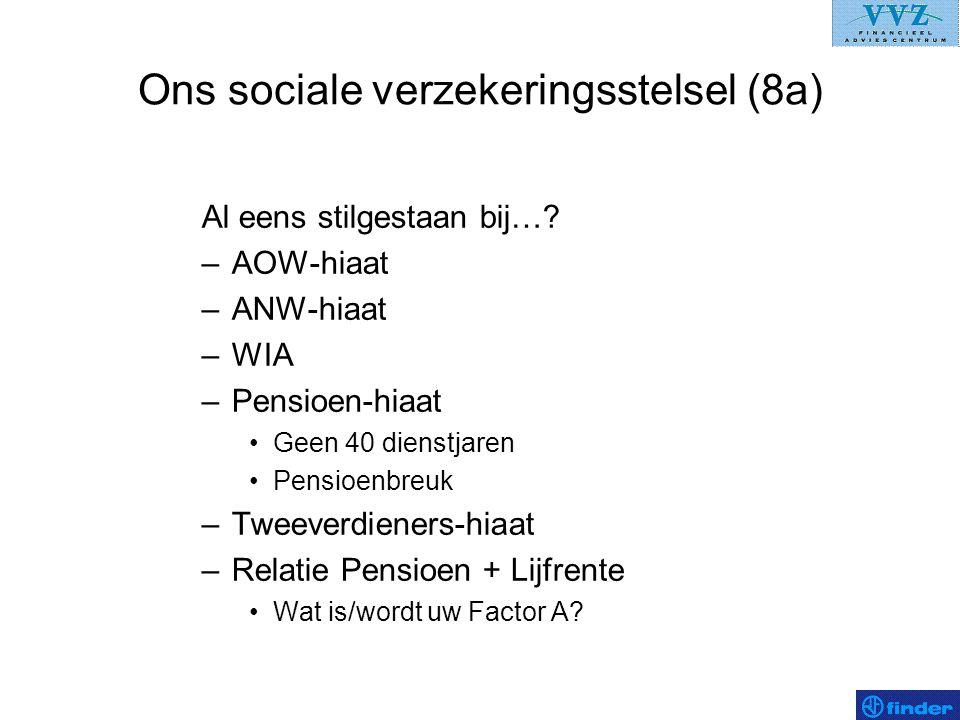Ons sociale verzekeringsstelsel (8a) Al eens stilgestaan bij…? –AOW-hiaat –ANW-hiaat –WIA –Pensioen-hiaat •Geen 40 dienstjaren •Pensioenbreuk –Tweever