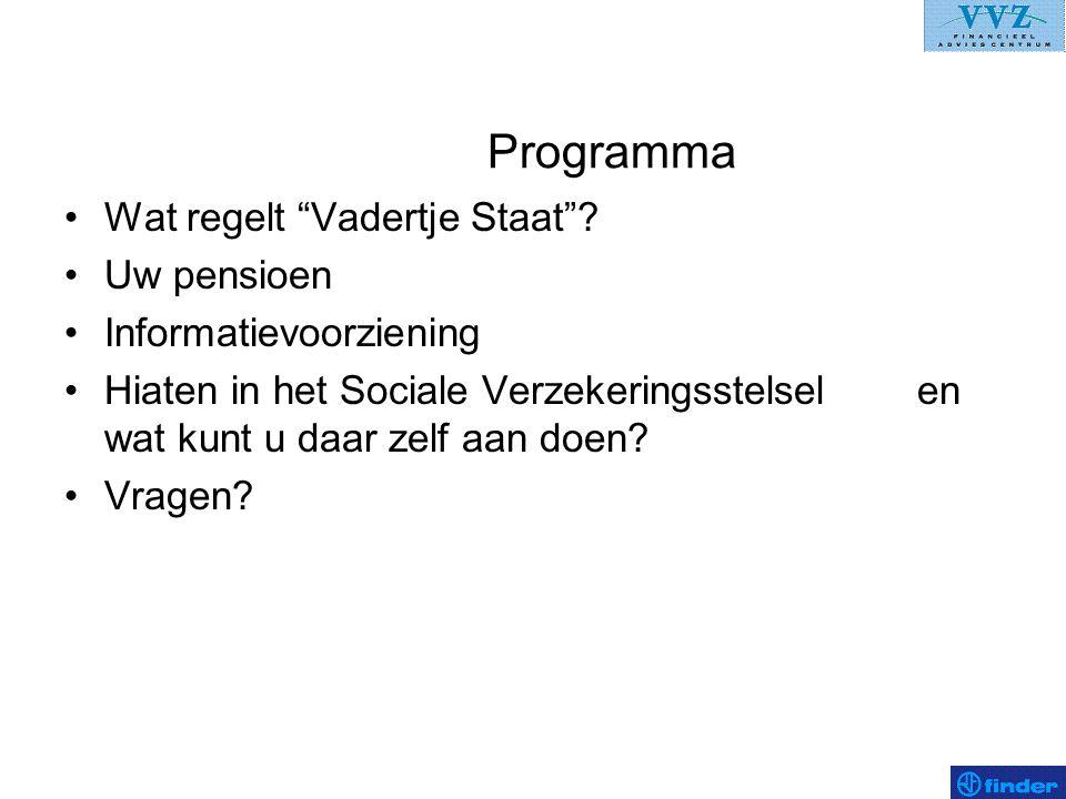 """Programma •Wat regelt """"Vadertje Staat""""? •Uw pensioen •Informatievoorziening •Hiaten in het Sociale Verzekeringsstelsel en wat kunt u daar zelf aan doe"""