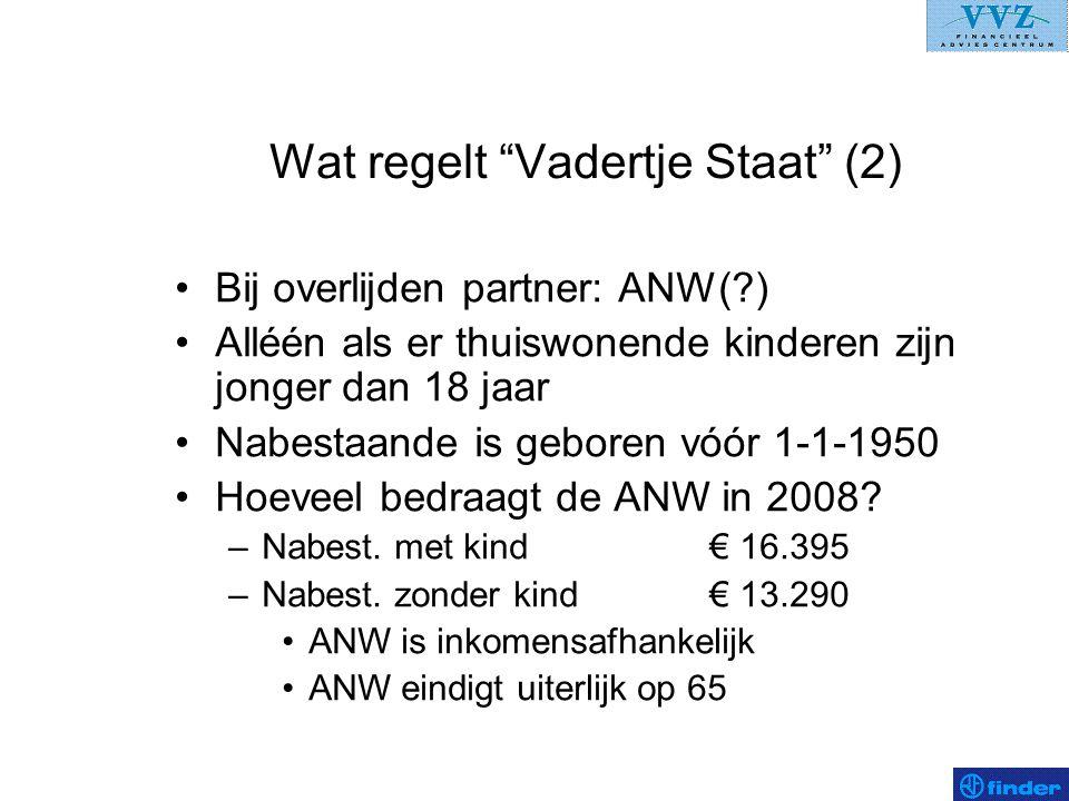 Uw pensioen (6b) –Aanvullend bij overlijden voor gehuwden en samenwonenden: ANW-hiaatverzekering Vaste rente (2008: € 13.291,00) –Ongeacht wel of geen ANW-hiaat.