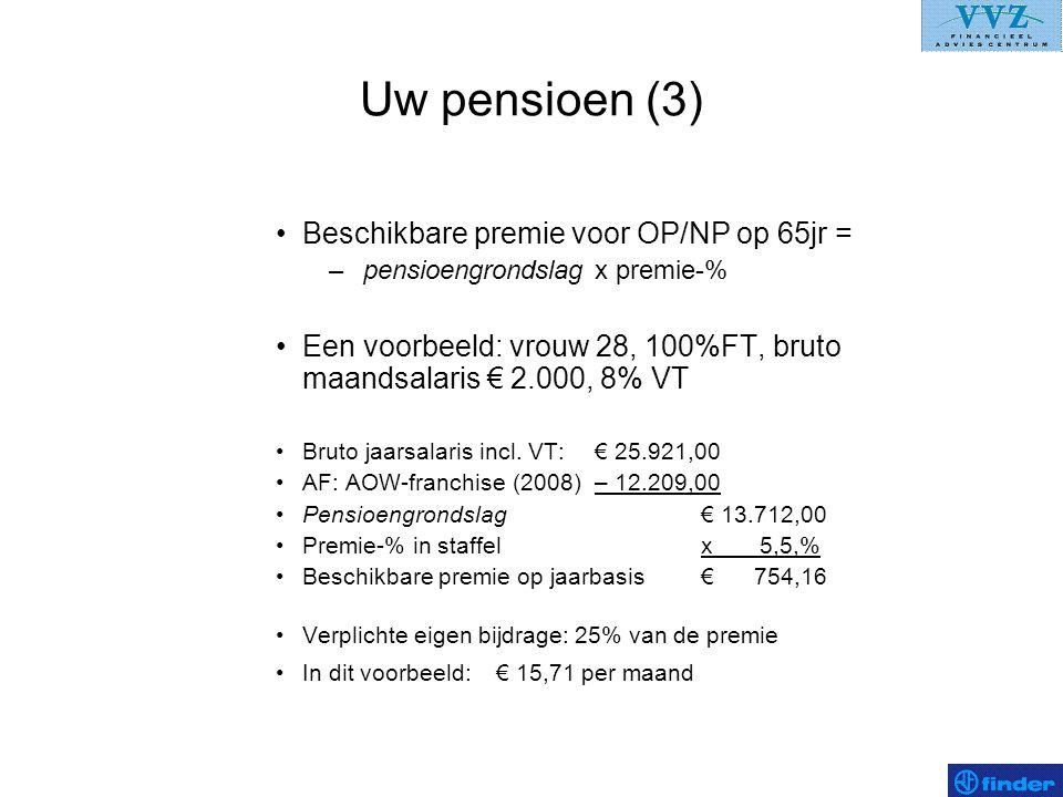 Uw pensioen (3) •Beschikbare premie voor OP/NP op 65jr = – pensioengrondslag x premie-% •Een voorbeeld: vrouw 28, 100%FT, bruto maandsalaris € 2.000,
