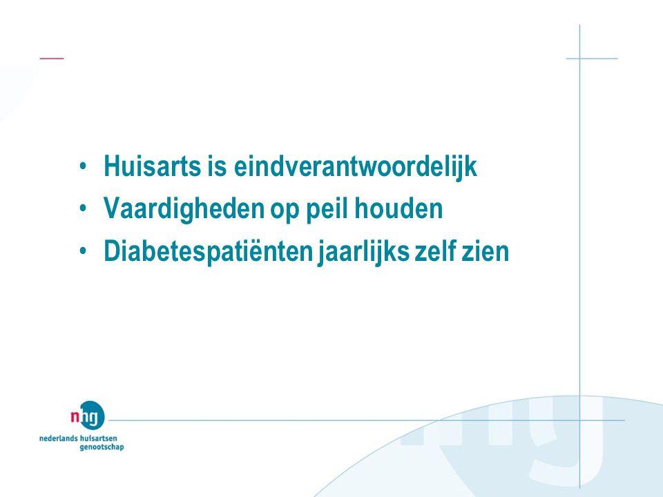 • Huisarts is eindverantwoordelijk • Vaardigheden op peil houden • Diabetespatiënten jaarlijks zelf zien