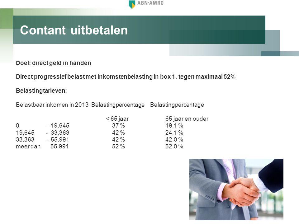 Contant uitbetalen Doel: direct geld in handen Direct progressief belast met inkomstenbelasting in box 1, tegen maximaal 52% Belastingtarieven: Belast