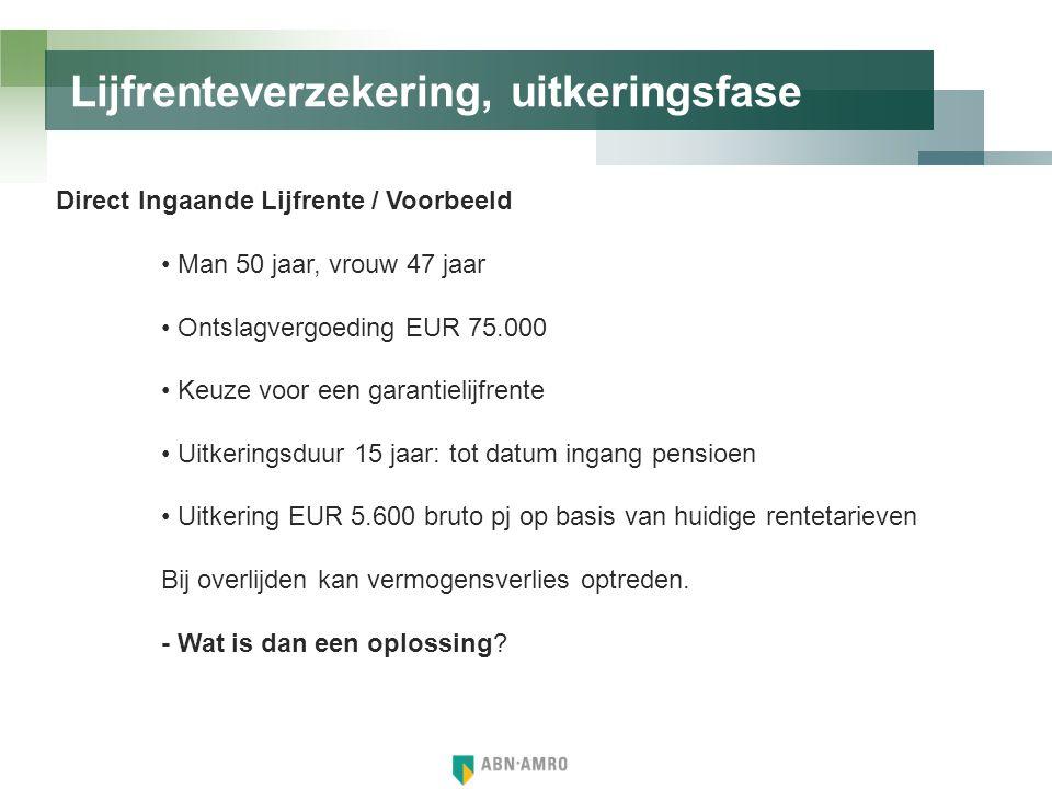 Lijfrenteverzekering, uitkeringsfase Direct Ingaande Lijfrente / Voorbeeld • Man 50 jaar, vrouw 47 jaar • Ontslagvergoeding EUR 75.000 • Keuze voor ee
