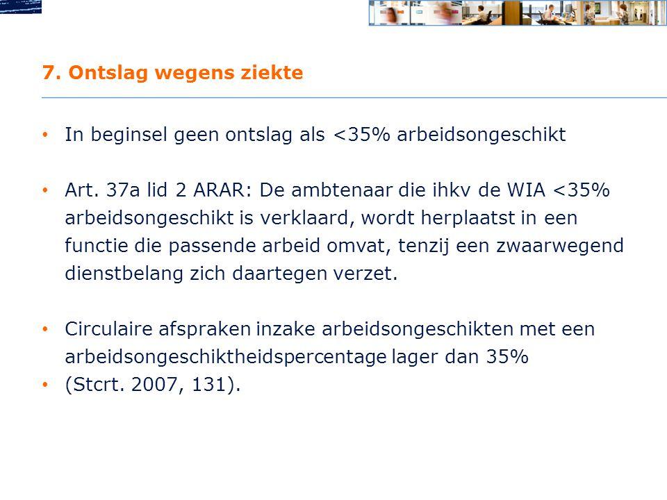 7.Ontslag wegens ziekte • In beginsel geen ontslag als <35% arbeidsongeschikt • Art.