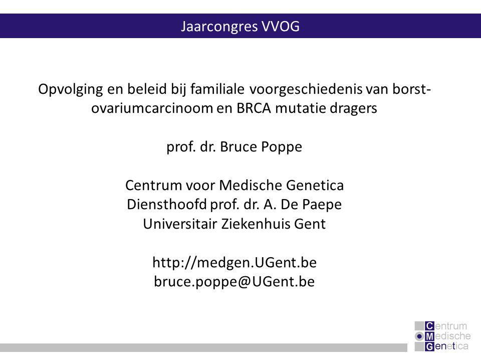 ovariumcarcinoom preventieve bilaterale salpingo-ovariëctomie:  bewezen reductie op morbiditeit en mortaliteit  vanaf 35- tot 40-jarige leeftijd of na vervullen kinderwens pilgebruik:  risico reductie (~50%)  mogelijks verhoogd risico op borstcarcinoom (vermoedelijk voornamelijk BRCA1 mutatiedraagsters) interventieleeftijdinterval CA-125 dosage30 tot 35 jaar1 jaar transvaginale echografie30 tot 35 jaar1 jaar screening