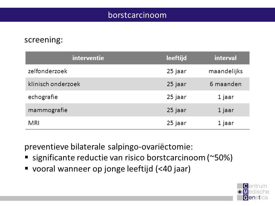 borstcarcinoom preventieve bilaterale salpingo-ovariëctomie:  significante reductie van risico borstcarcinoom (~50%)  vooral wanneer op jonge leefti