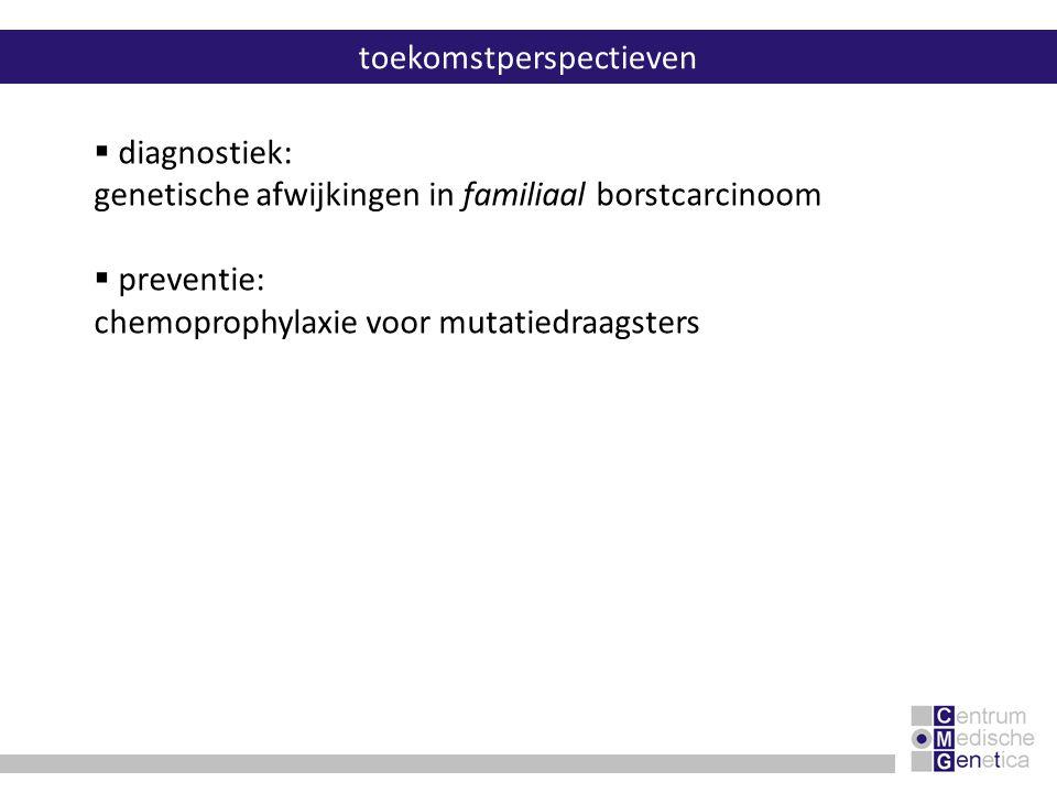  diagnostiek: genetische afwijkingen in familiaal borstcarcinoom  preventie: chemoprophylaxie voor mutatiedraagsters toekomstperspectieven