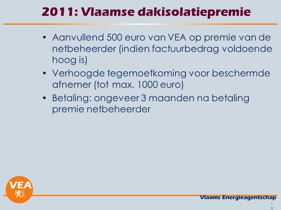 10 2011: Vlaamse dakisolatiepremie •Aanvullend 500 euro van VEA op premie van de netbeheerder (indien factuurbedrag voldoende hoog is) •Verhoogde tege