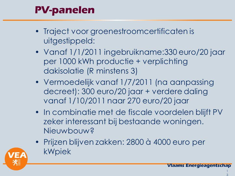 13 PV-panelen •Traject voor groenestroomcertificaten is uitgestippeld: •Vanaf 1/1/2011 ingebruikname:330 euro/20 jaar per 1000 kWh productie + verplic