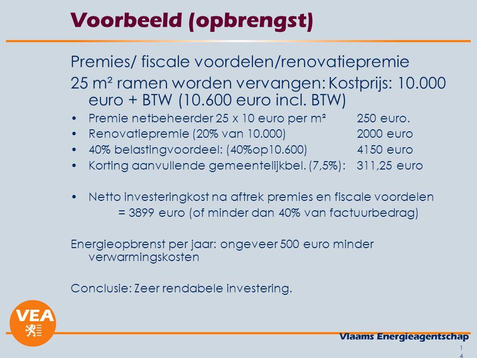 14 Voorbeeld (opbrengst) Premies/ fiscale voordelen/renovatiepremie 25 m² ramen worden vervangen: Kostprijs: 10.000 euro + BTW (10.600 euro incl. BTW)