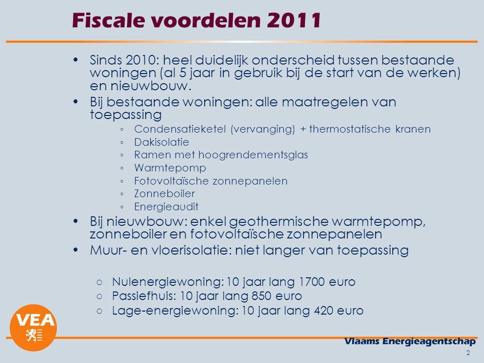 2 Fiscale voordelen 2011 •Sinds 2010: heel duidelijk onderscheid tussen bestaande woningen (al 5 jaar in gebruik bij de start van de werken) en nieuwb