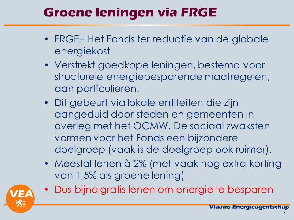 7 Groene leningen via FRGE •FRGE= Het Fonds ter reductie van de globale energiekost •Verstrekt goedkope leningen, bestemd voor structurele energiebesp