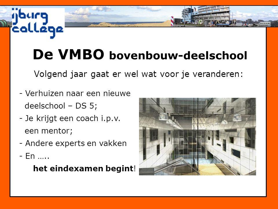 De VMBO bovenbouw-deelschool Volgend jaar gaat er wel wat voor je veranderen: - Verhuizen naar een nieuwe deelschool – DS 5; - Je krijgt een coach i.p