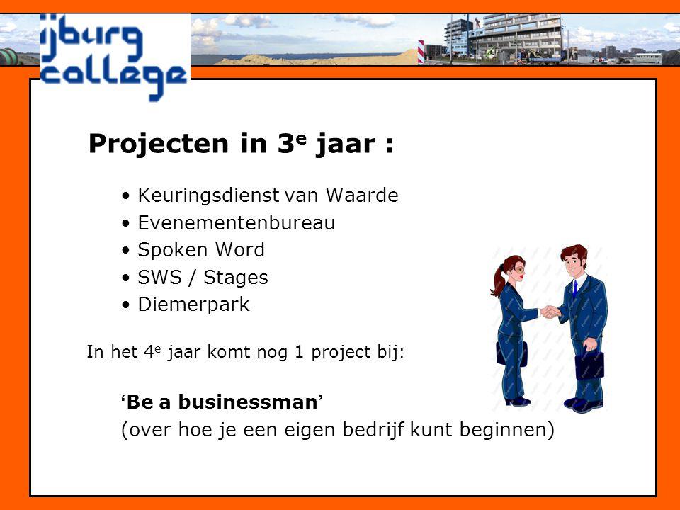 •Keuringsdienst van Waarde •Evenementenbureau •Spoken Word •SWS / Stages •Diemerpark In het 4 e jaar komt nog 1 project bij: 'Be a businessman' (over