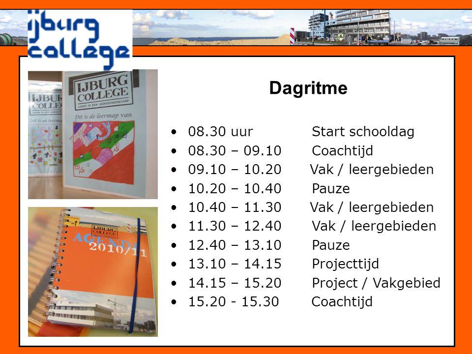 Dagritme •08.30 uurStart schooldag •08.30 – 09.10Coachtijd •09.10 – 10.20 Vak / leergebieden •10.20 – 10.40 Pauze •10.40 – 11.30 Vak / leergebieden •1