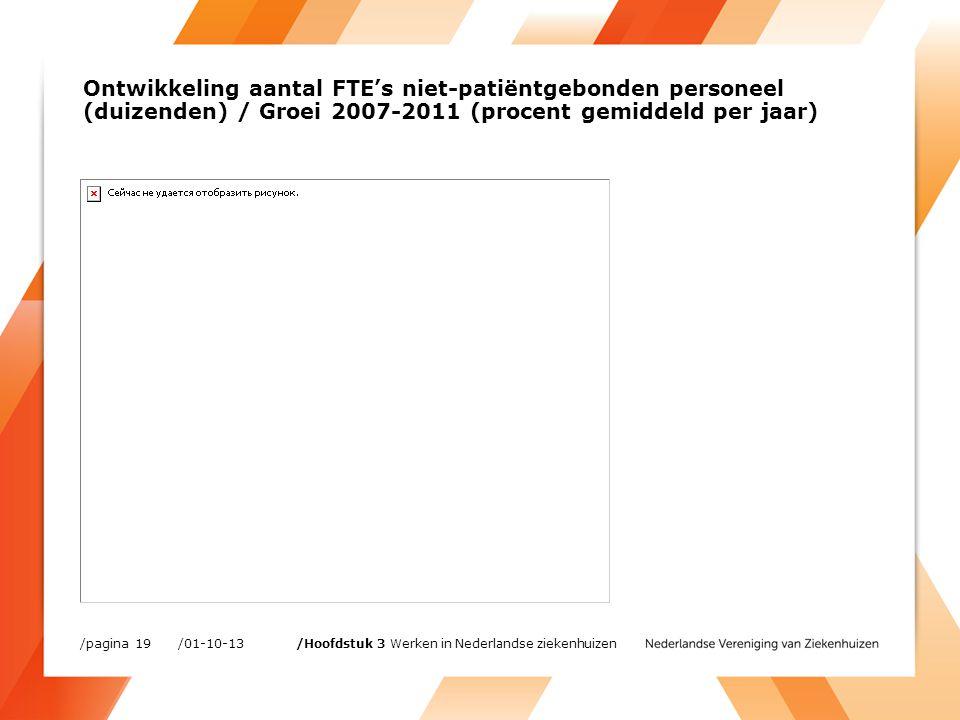 Ontwikkeling aantal FTE's niet-patiëntgebonden personeel (duizenden) / Groei 2007-2011 (procent gemiddeld per jaar) /01-10-13/pagina 19 /Hoofdstuk 3 Werken in Nederlandse ziekenhuizen
