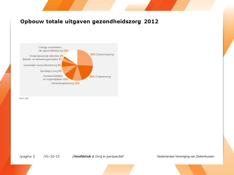 /01-10-13/pagina 33 /Hoofdstuk 4 Financiën Segmentatie van totale omzet algemene ziekenhuizen, 2012 (procent)