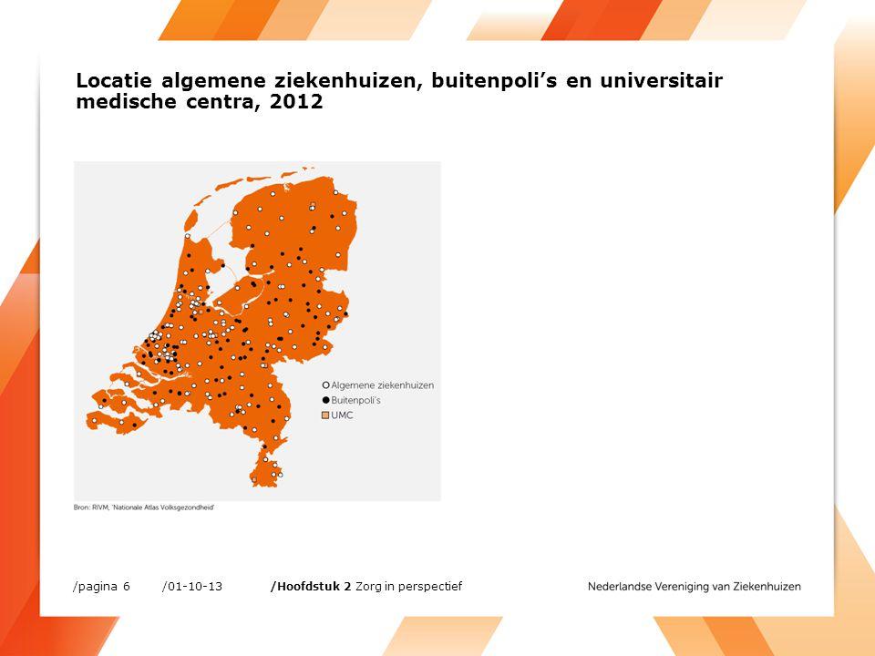 Voltijdsequivalenten (FTE) in de zorg (duizenden) /01-10-13/pagina 7 /Hoofdstuk 3 Werken in Nederlandse ziekenhuizen