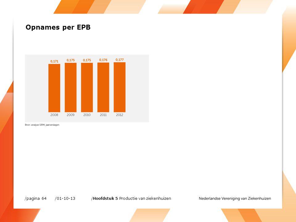 /01-10-13/pagina 64 /Hoofdstuk 5 Productie van ziekenhuizen Opnames per EPB