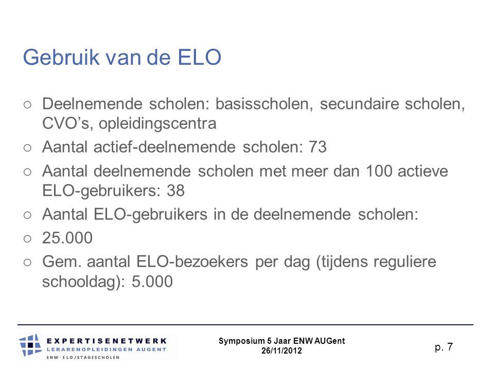 Symposium 5 Jaar ENW AUGent 26/11/2012 p. 8 ELO-cursussen: standaard-functionaliteiten