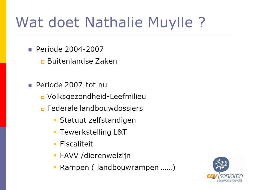 Wat doet Nathalie Muylle ?  Periode 2004-2007  Buitenlandse Zaken  Periode 2007-tot nu  Volksgezondheid-Leefmilieu  Federale landbouwdossiers  S