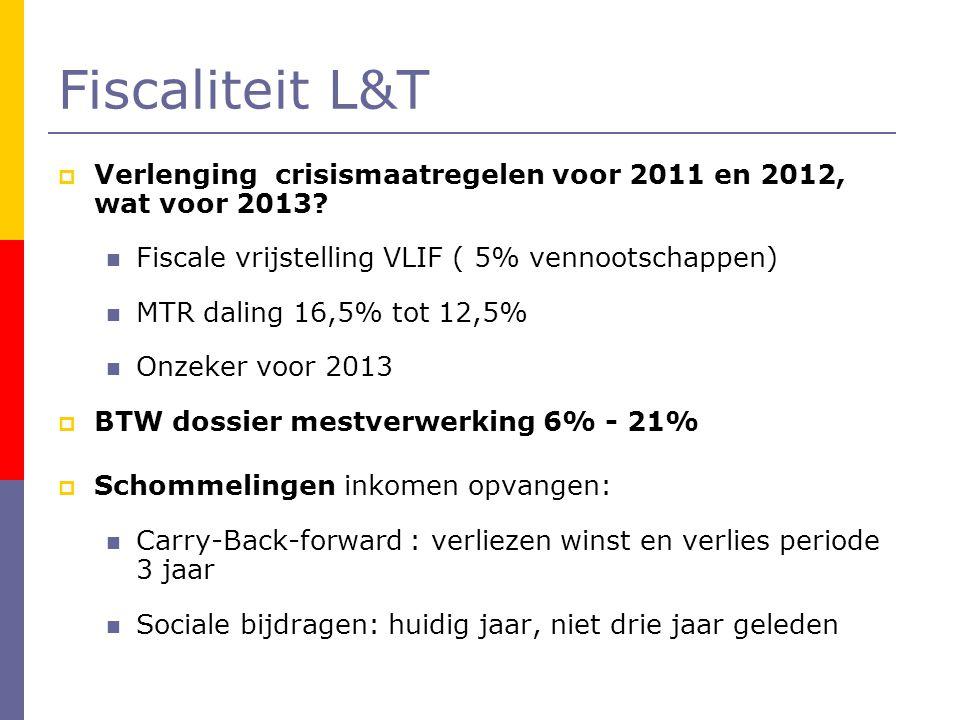 Fiscaliteit L&T  Verlenging crisismaatregelen voor 2011 en 2012, wat voor 2013?  Fiscale vrijstelling VLIF ( 5% vennootschappen)  MTR daling 16,5%