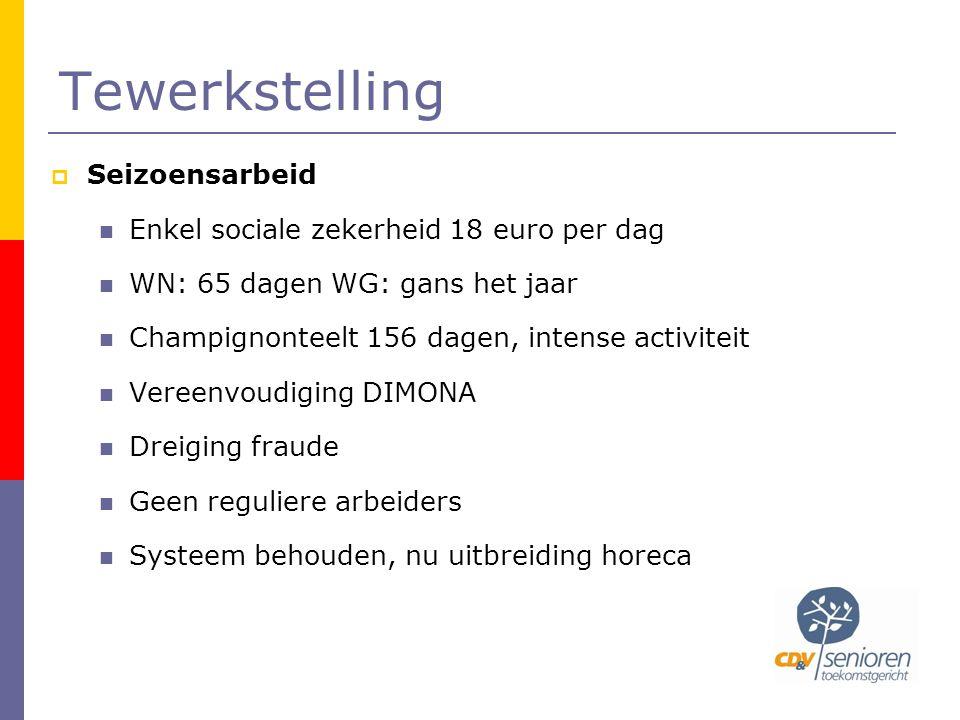 Tewerkstelling  Seizoensarbeid  Enkel sociale zekerheid 18 euro per dag  WN: 65 dagen WG: gans het jaar  Champignonteelt 156 dagen, intense activi
