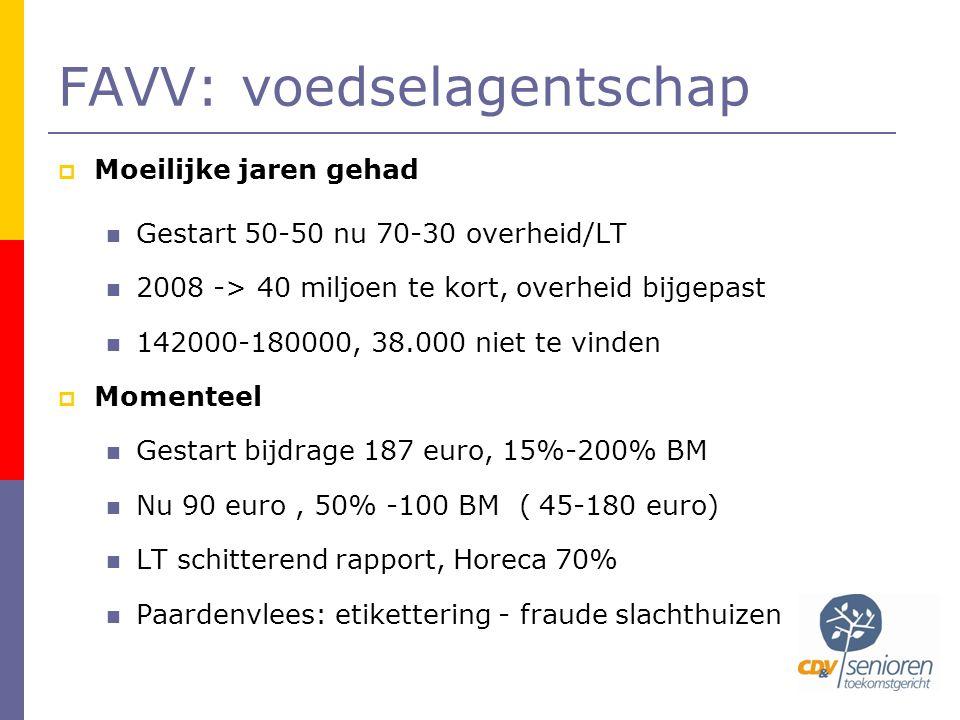 FAVV: voedselagentschap  Moeilijke jaren gehad  Gestart 50-50 nu 70-30 overheid/LT  2008 -> 40 miljoen te kort, overheid bijgepast  142000-180000, 38.000 niet te vinden  Momenteel  Gestart bijdrage 187 euro, 15%-200% BM  Nu 90 euro, 50% -100 BM ( 45-180 euro)  LT schitterend rapport, Horeca 70%  Paardenvlees: etikettering - fraude slachthuizen