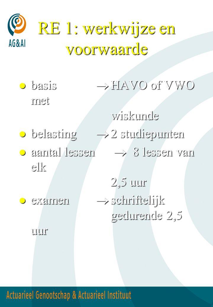 RE 1: werkwijze en voorwaarde  basis  HAVO of VWO met wiskunde  belasting  2 studiepunten  aantal lessen  8 lessen van elk 2,5 uur  examen  sc