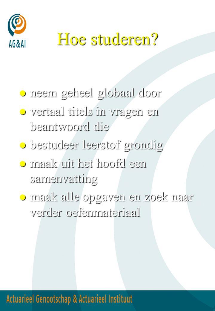 Hoe studeren? l neem geheel globaal door l vertaal titels in vragen en beantwoord die l bestudeer leerstof grondig l maak uit het hoofd een samenvatti