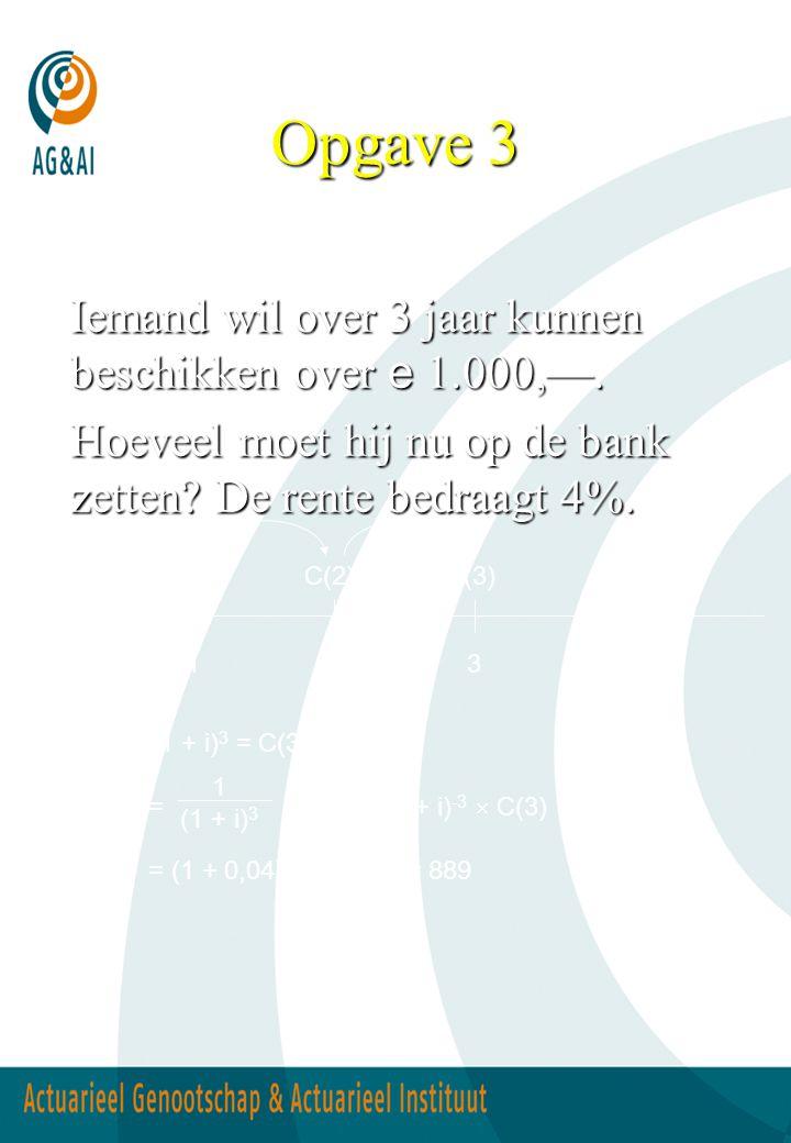Opgave 3 Iemand wil over 3 jaar kunnen beschikken over e 1.000,—. Hoeveel moet hij nu op de bank zetten? De rente bedraagt 4%. C(0)  (1 + i) 3 = C(3)