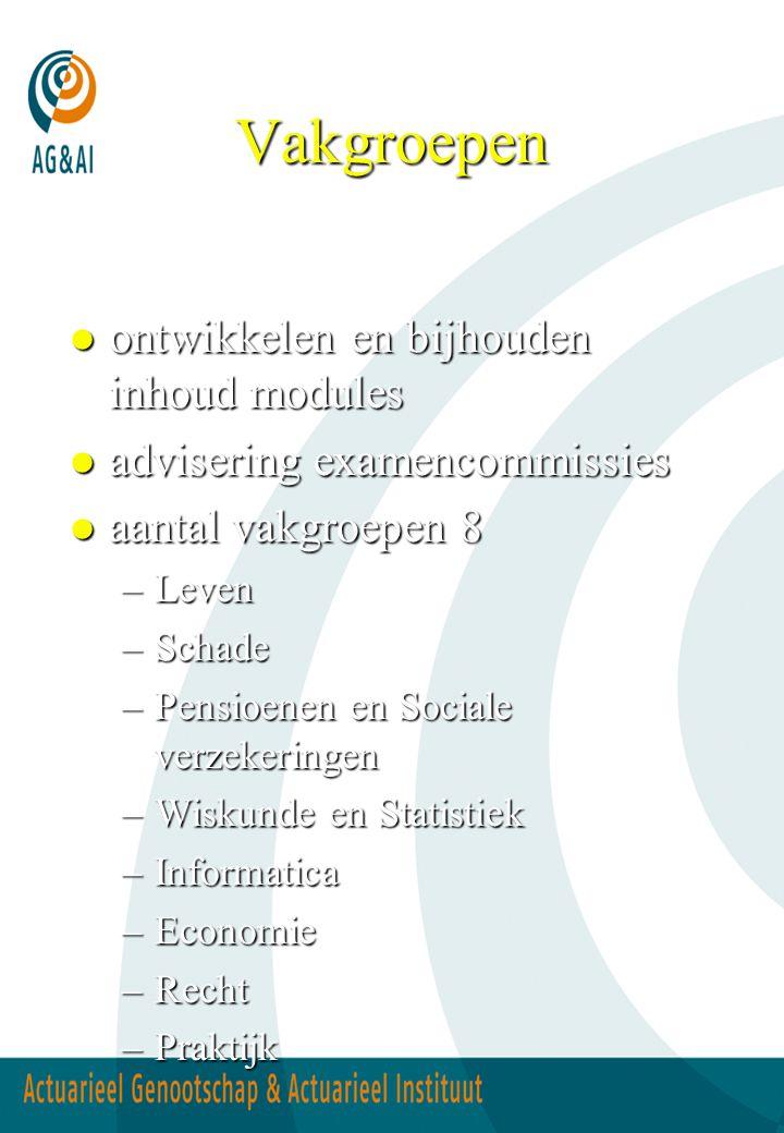 Vakgroepen l ontwikkelen en bijhouden inhoud modules l advisering examencommissies l aantal vakgroepen 8 –Leven –Schade –Pensioenen en Sociale verzeke