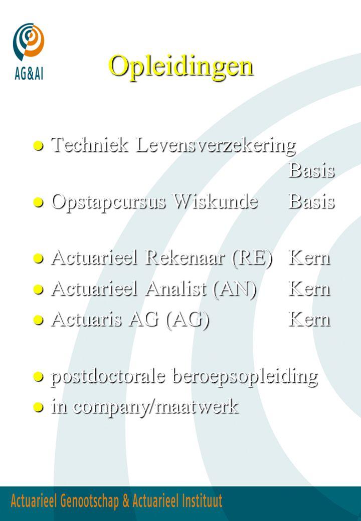 Opleidingen l Techniek Levensverzekering Basis l Opstapcursus WiskundeBasis l Actuarieel Rekenaar (RE)Kern l Actuarieel Analist (AN)Kern l Actuaris AG