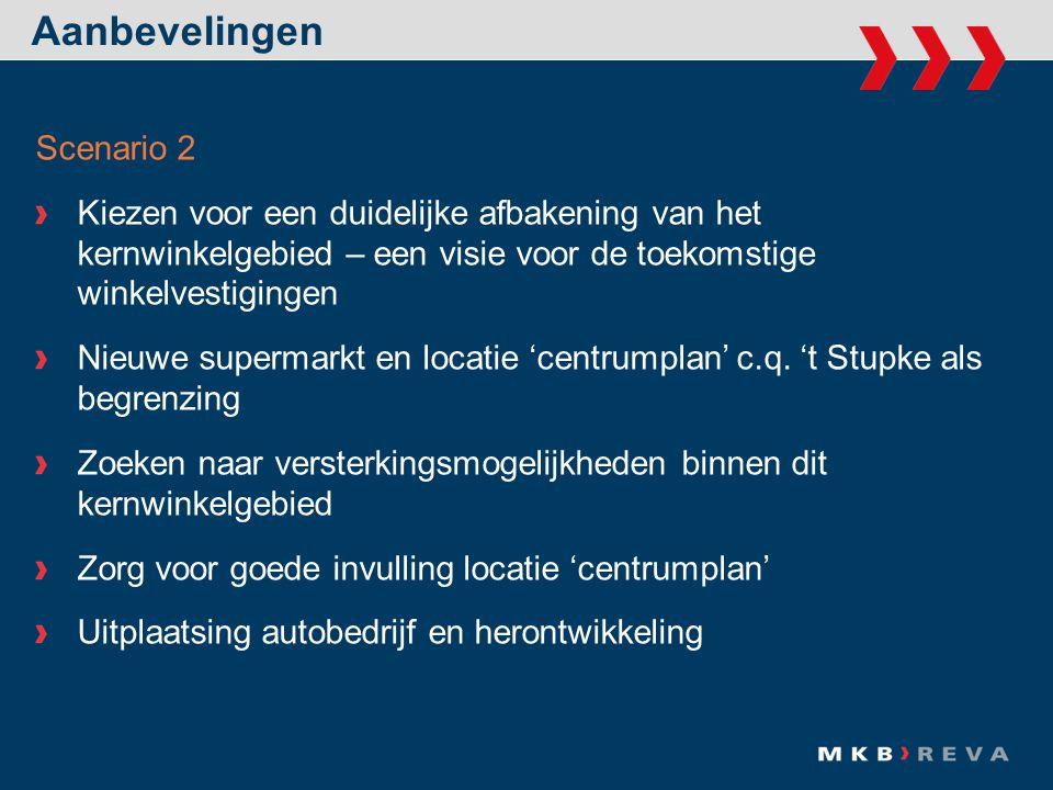 Aanbevelingen Scenario 2 Kiezen voor een duidelijke afbakening van het kernwinkelgebied – een visie voor de toekomstige winkelvestigingen Nieuwe supermarkt en locatie 'centrumplan' c.q.