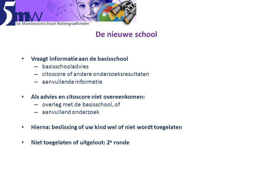 De nieuwe school • Vraagt informatie aan de basisschool – basisschooladvies – citoscore of andere onderzoeksresultaten – aanvullende informatie • Als