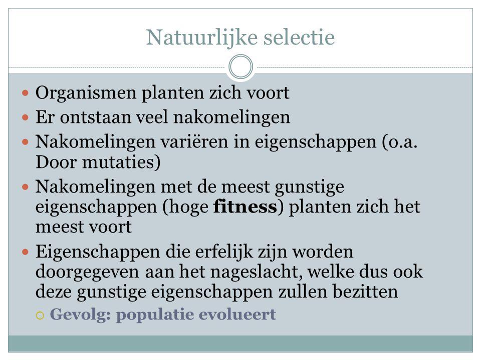 Natuurlijke selectie  Organismen planten zich voort  Er ontstaan veel nakomelingen  Nakomelingen variëren in eigenschappen (o.a. Door mutaties)  N