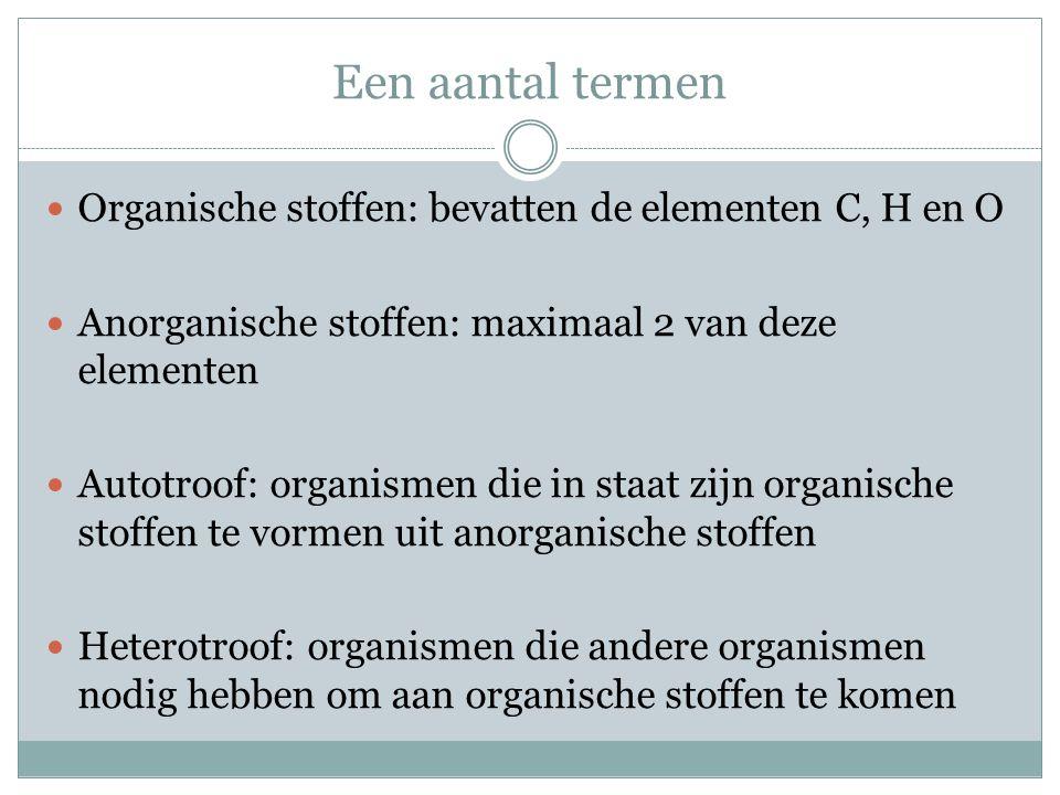 Een aantal termen  Organische stoffen: bevatten de elementen C, H en O  Anorganische stoffen: maximaal 2 van deze elementen  Autotroof: organismen