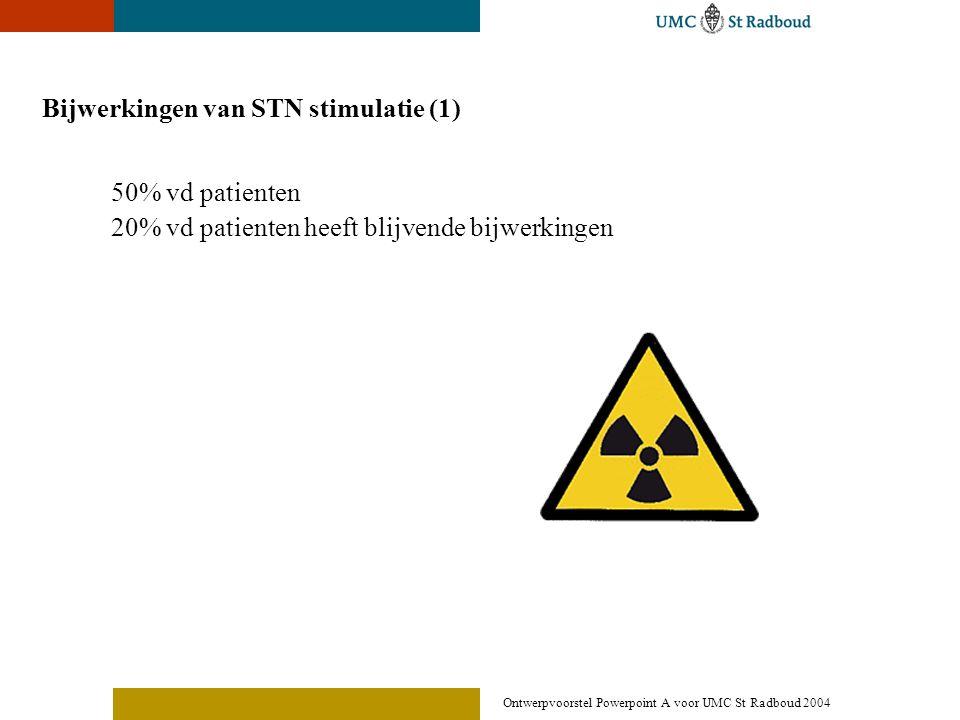 Ontwerpvoorstel Powerpoint A voor UMC St Radboud 2004 Bijwerkingen van STN stimulatie (1) 50% vd patienten 20% vd patienten heeft blijvende bijwerking