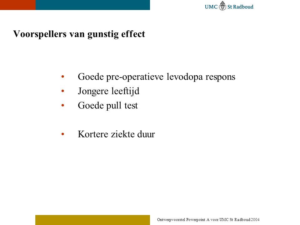 Ontwerpvoorstel Powerpoint A voor UMC St Radboud 2004 Voorspellers van gunstig effect •Goede pre-operatieve levodopa respons •Jongere leeftijd •Goede