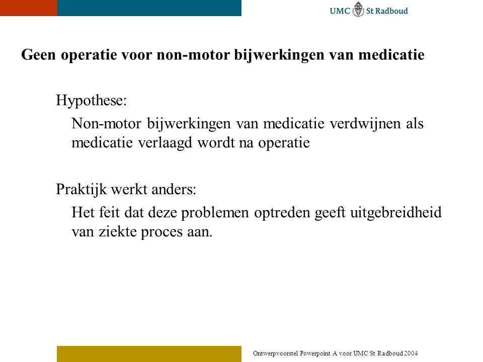 Ontwerpvoorstel Powerpoint A voor UMC St Radboud 2004 Geen operatie voor non-motor bijwerkingen van medicatie Hypothese: Non-motor bijwerkingen van me