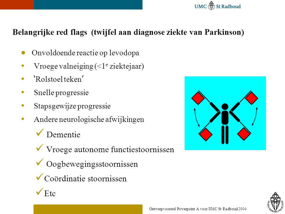 Ontwerpvoorstel Powerpoint A voor UMC St Radboud 2004 Belangrijke red flags (twijfel aan diagnose ziekte van Parkinson)  Onvoldoende reactie op levod