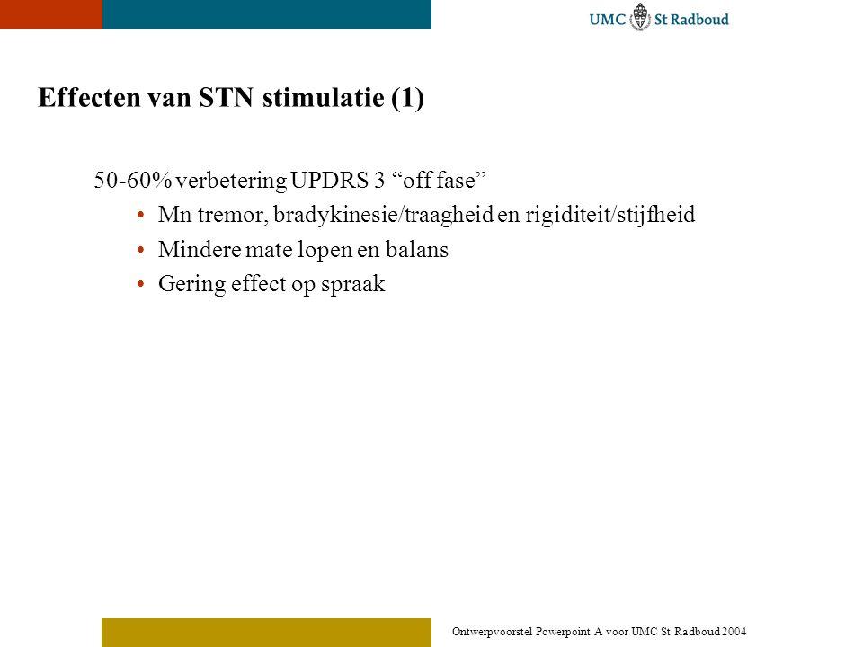 """Ontwerpvoorstel Powerpoint A voor UMC St Radboud 2004 Effecten van STN stimulatie (1) 50-60% verbetering UPDRS 3 """"off fase"""" •Mn tremor, bradykinesie/t"""