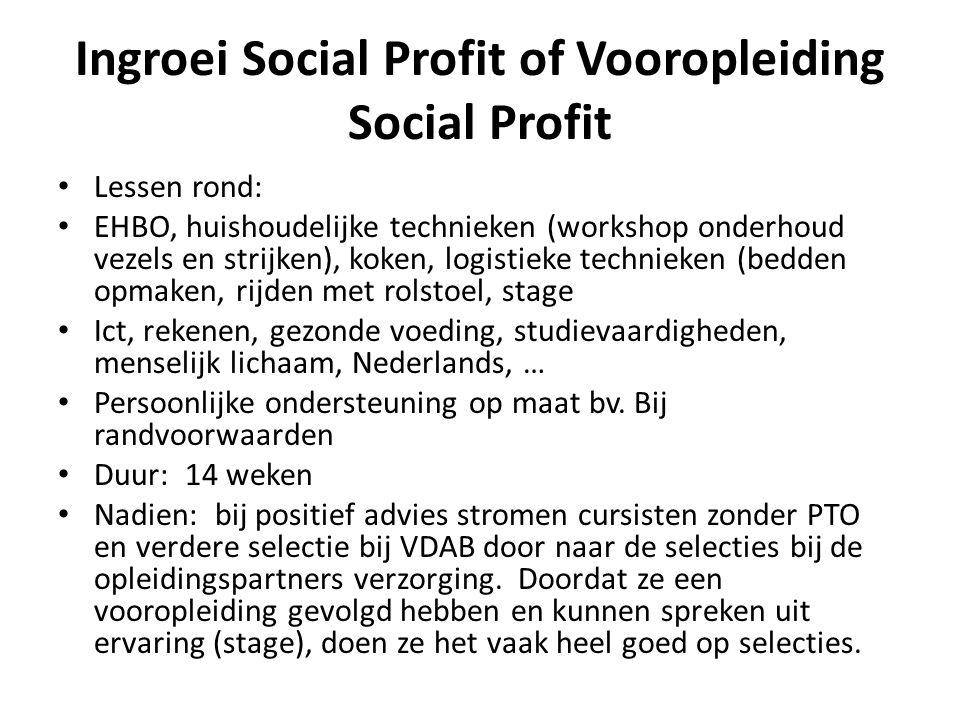 Ingroei Social Profit of Vooropleiding Social Profit • Lessen rond: • EHBO, huishoudelijke technieken (workshop onderhoud vezels en strijken), koken,