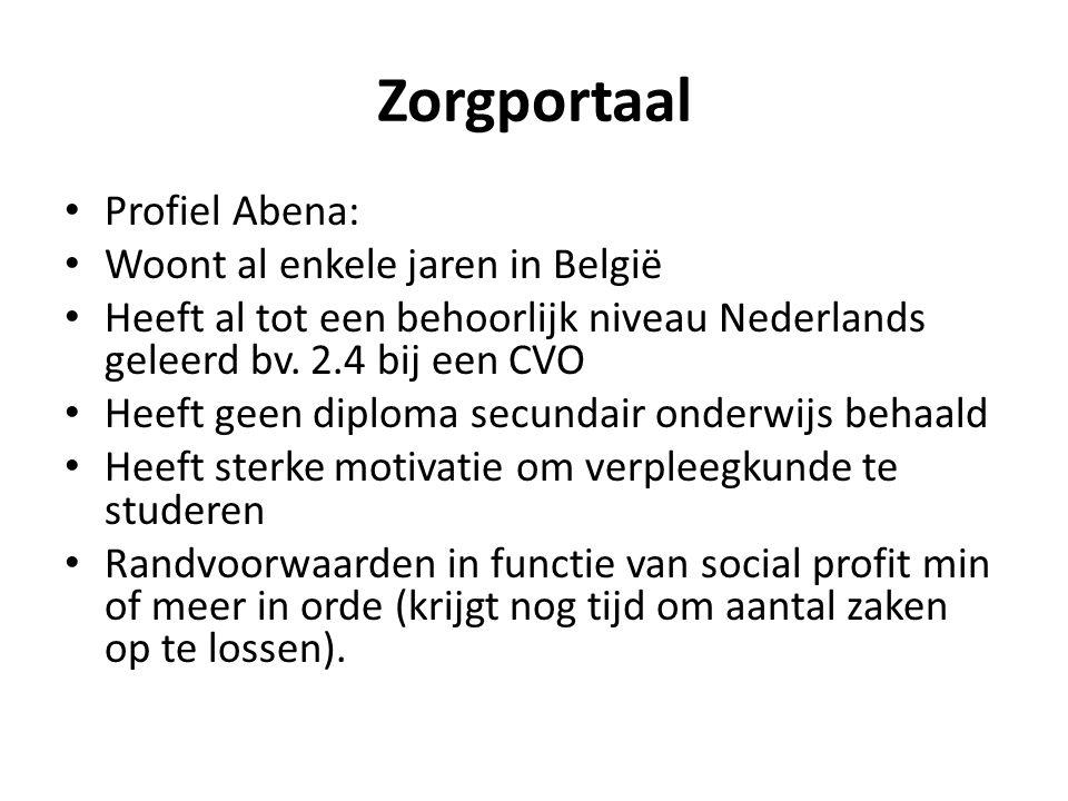 Zorgportaal • Profiel Abena: • Woont al enkele jaren in België • Heeft al tot een behoorlijk niveau Nederlands geleerd bv. 2.4 bij een CVO • Heeft gee