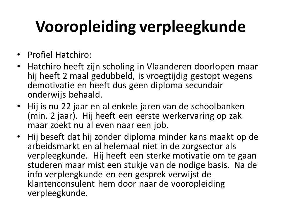 Vooropleiding verpleegkunde • Profiel Hatchiro: • Hatchiro heeft zijn scholing in Vlaanderen doorlopen maar hij heeft 2 maal gedubbeld, is vroegtijdig