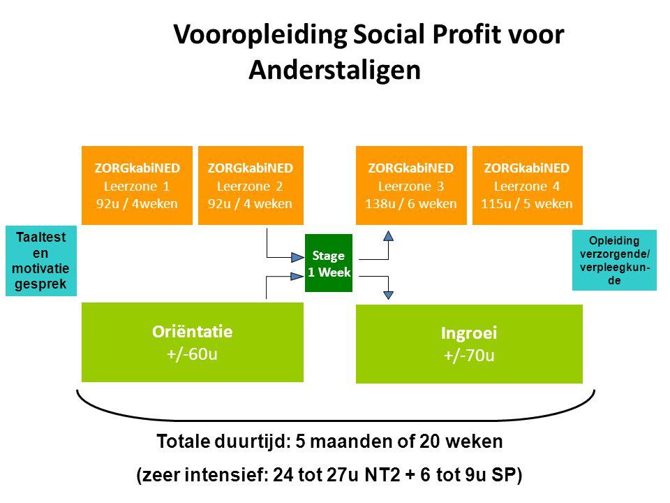 Vooropleiding Social Profit voor Anderstaligen Totale duurtijd: 5 maanden of 20 weken (zeer intensief: 24 tot 27u NT2 + 6 tot 9u SP) ZORGkabiNED Leerz
