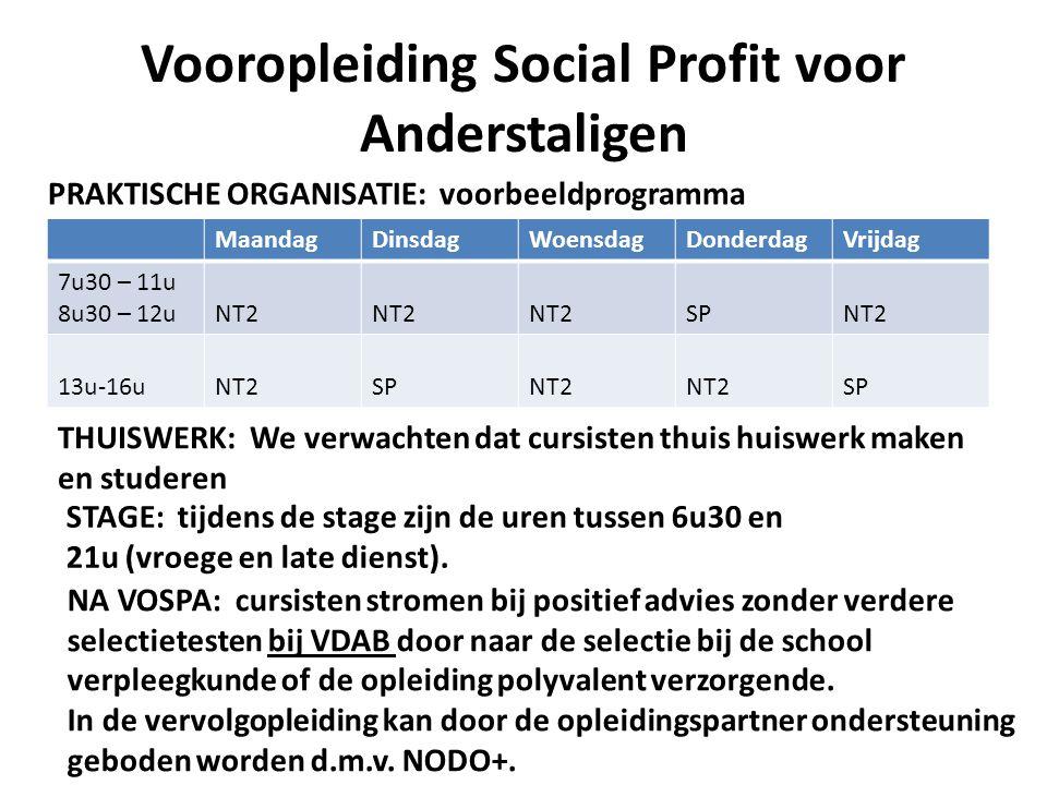 Vooropleiding Social Profit voor Anderstaligen MaandagDinsdagWoensdagDonderdagVrijdag 7u30 – 11u 8u30 – 12uNT2 SPNT2 13u-16uNT2SPNT2 SP PRAKTISCHE ORG