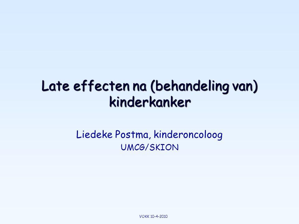 Zelfde behandeling, late effecten verschillen MarcelErik Vermoeidheid -+ Hormoontekort ++ Leerproblemen -++ Sociale problemen -+ Tweede tumor -+ VOKK 10-4-2010