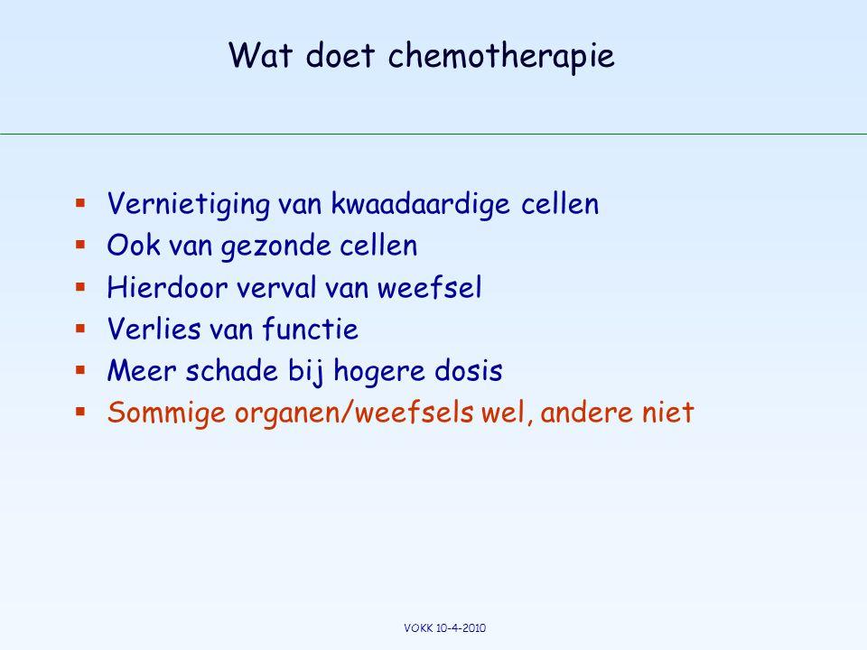 Wat doet chemotherapie  Vernietiging van kwaadaardige cellen  Ook van gezonde cellen  Hierdoor verval van weefsel  Verlies van functie  Meer scha