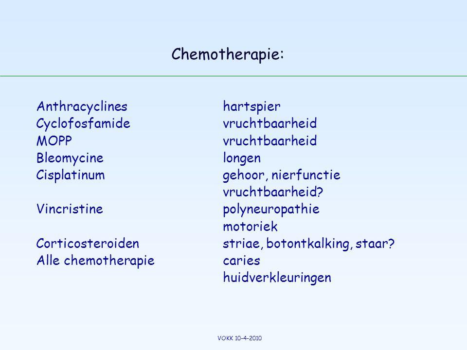 Chemotherapie: Anthracyclines hartspier Cyclofosfamide vruchtbaarheid MOPPvruchtbaarheid Bleomycinelongen Cisplatinum gehoor, nierfunctie vruchtbaarhe